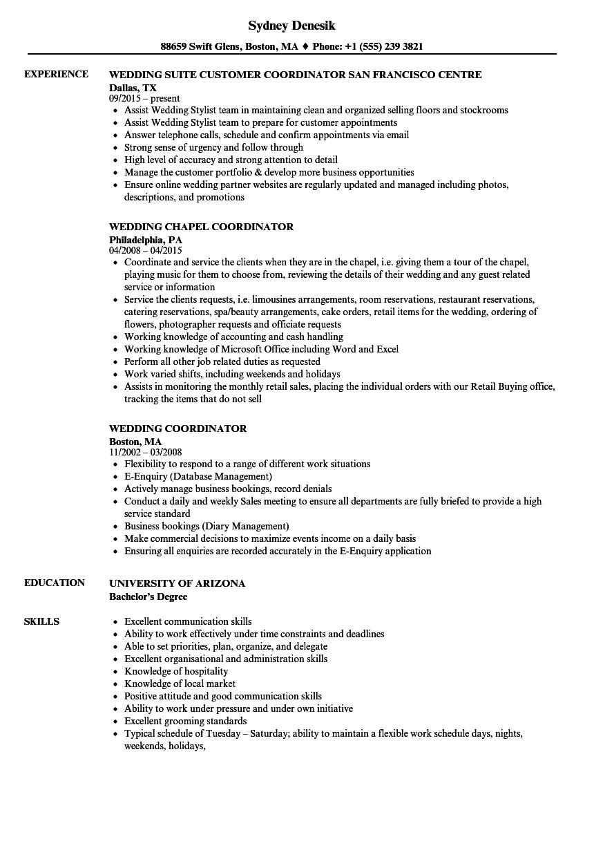 event planner resume wedding coordinator resume sample