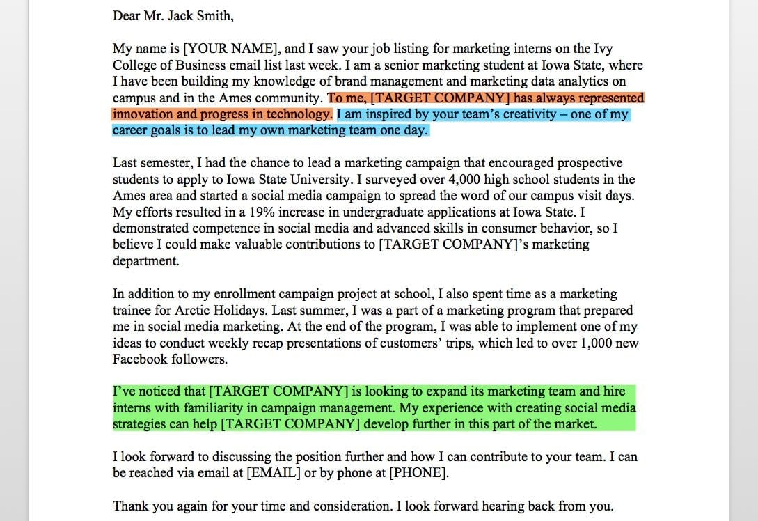 marketing cover letter marketing intern cover letter