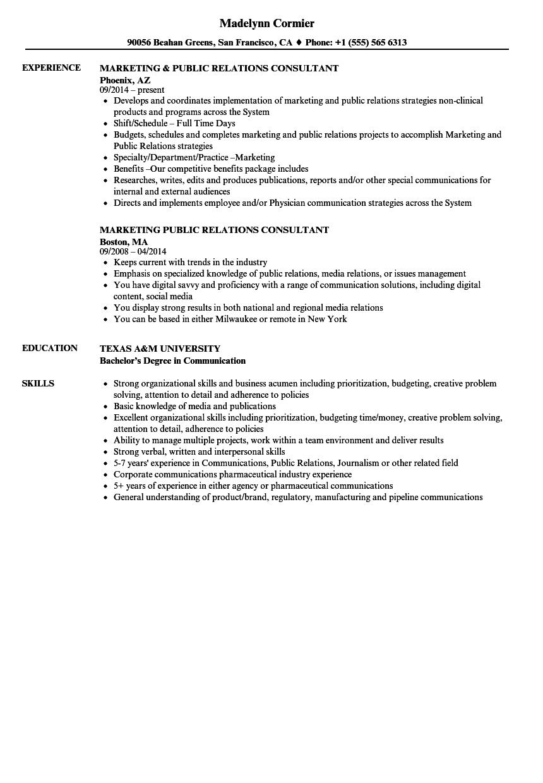 public relations resume public relations consultant resume