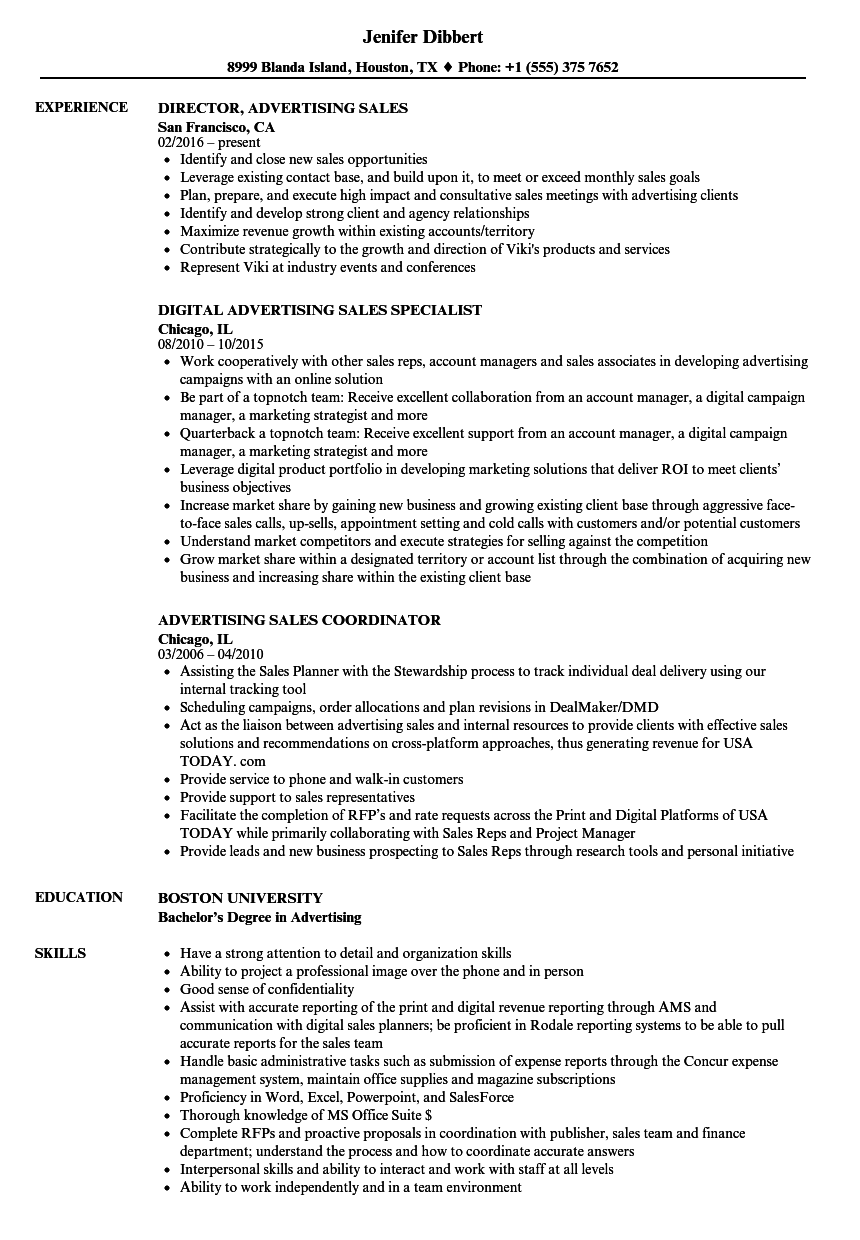 sales resume examples advertising sales resume sample